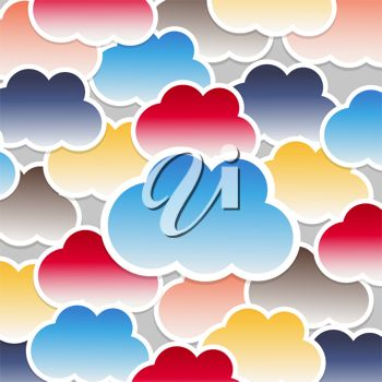 picture of an array of clouds in a vector clip art illustration