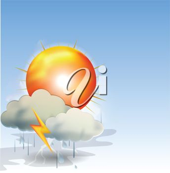 picture of a thunder and lightning storm in a vector clip art illustration