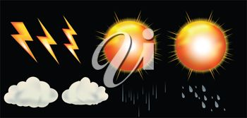 picture of weather icons in a vector clip art illustration