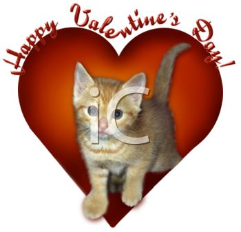 picture of a kitten on a heart with happy valentine's day text in a vector clip art illustration