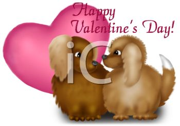 picture of two dogs and a heart with a happy valentine's day text in a vector clip art illustration