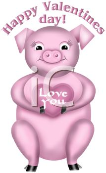 picture of a pig holding an i love you heart with a happy valentines day text