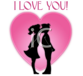 picture of a silhouette of a boy and girl kisses in front of a heart with an i love you text