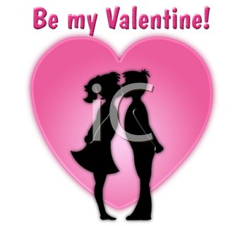 picture of a silhouette of a boy and girl kisses in front of a heart with a be my valentine text