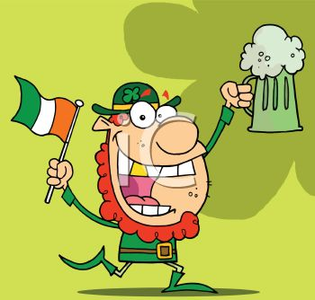 picture of a leprechuaun with an irish flag and a mug of beer in a vector clip art illustration