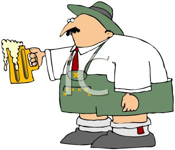 picture of an irishman holding a foamy mug of beer ready for a toast  in a vector clip art illustration