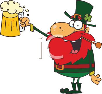 picture of a leprechaun toasting with a foamy beer in a mug in a vector clip art illustration