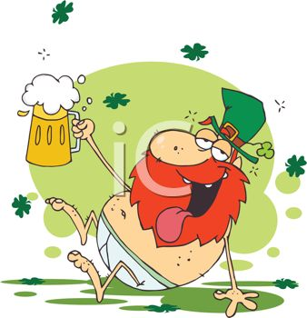picture of a drunken leprechaun sitting on the floor holding a mug of beer in a vector clip art illustration