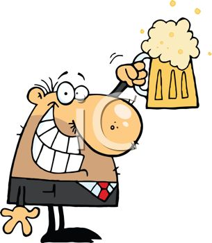 picture of a businessman holding up a mug of foamy beer in a vector clip art illustration