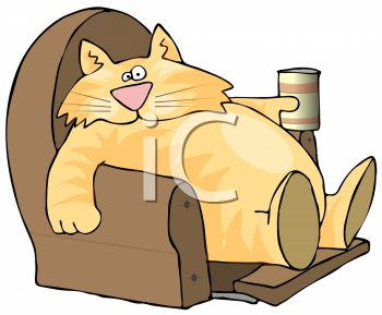 picture of a chubby cat in a recliner with a beverage in a vector clip art illustration
