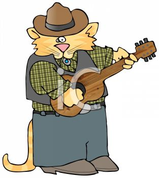 picture of a cat wearing men's clothing and playing a guitar in a vector clip art illustration