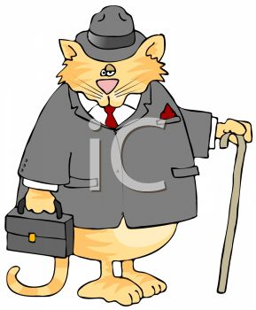 picture of a chubby cat wearing a man's suit and holding a briefcase and cane in a vector clip art illustration