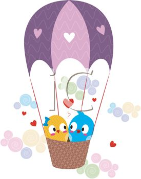 picture of two lovebirds flying in an air balloon with hearts surrounding them in a vector clip art illustration
