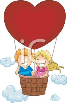 picture of a boy and girl in a heart shaped air balloon in a vector clip art illustration