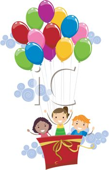 picture of three children riding in an air balloon carrier using several helium balloons in a vector clip art illustration