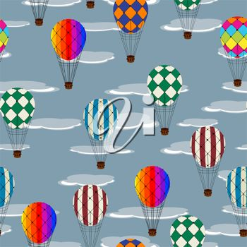 picture of several air balloons flying in the sky in a vector clip art illustration