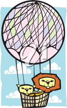 picture of two lions riding in an air balloon in a vector clip art illustration