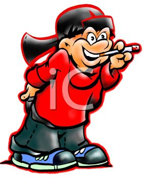 picture of a boy smoking a cigarette in a vector clip art illustration