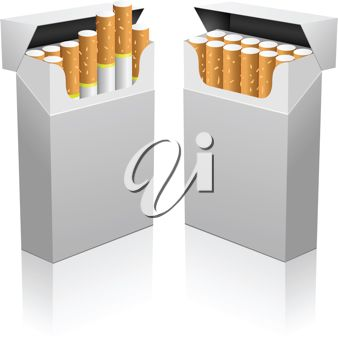 picture of two packs of cigarettes in a vector clip art illustration
