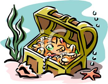 picture of a treasure chest full of gold and jewels at the bottom of the ocean in a vector clip art illustration