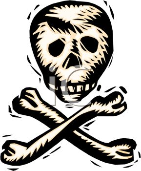 picture of a skull and crossbones in a vector clip art illustration