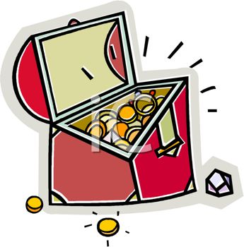 picture of a treasure chest full of gold and jewelry in a vector clip art illustration