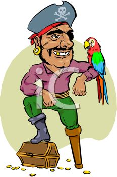 picture of a pirate with his foot on a treasure chest and a parrot on his arm in a vector clip art illustration