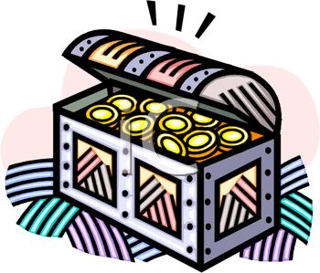 picture of a treasure chest of gold coins in a vector clip art illustration