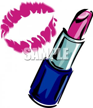 picture of a tube of lipstick and a lip print in a vector clip art illustration