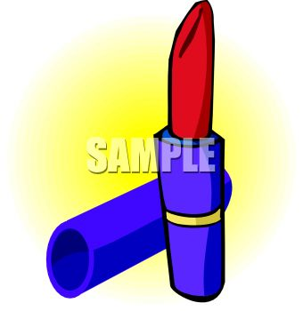 picture of a tube of lipstick with the lid off in a vector clip art illustration