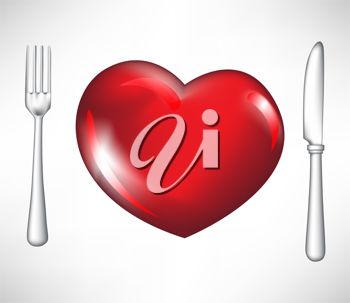 picture of a heart shape plate, a knife and a fork in a vector clip art illustration