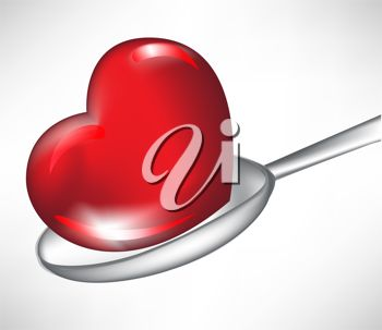 picture of a heart shaped drop in a spoon in a vector clip art illustration