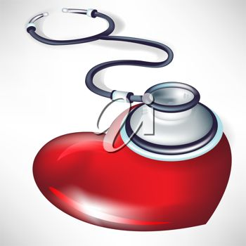 picture of a stethescope listening to a heart shaped object in a vector clip art illustration