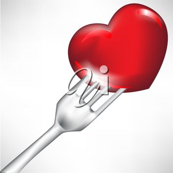 picture of a fork poked inside of a heart in a vector clip art illustration