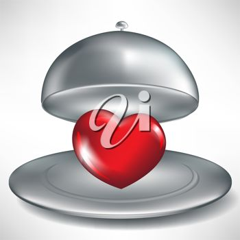 picture of a heart shape under a hot plate lid in a vector clip art illustration
