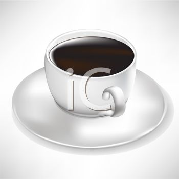 picture of a cup of coffee on a saucer in a vector clip art illustration