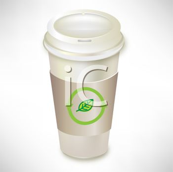 picture of a paper cup of coffee with an environmental sign in a vector clip art illustration