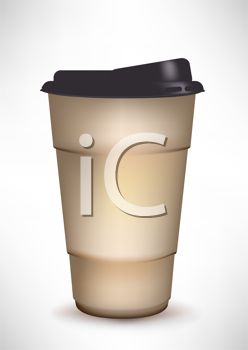 picture of a paper cup of coffee in a vector clip art illustration