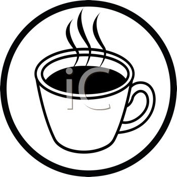 picture of a hot cup of cofffee in a vector clip art illustration