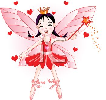 picture of a fairy with red hearts in a vector clip art illustration