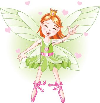 picture of a fairy with pink hearts in a vector clip art illustration