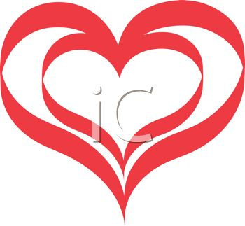 picture of a large red heart with a small red heart in the center in a vector clip art illustration