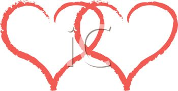 picture of two red hearts together in a vector clip art illustration