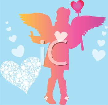 picture of an angel holding a heart on a stick in a vector clip art illustration