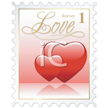 picture of a forever stamp with text love and two hearts  in a vector clip art illustration