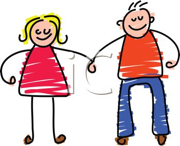 picture of a boy and a girl stick figure holding hands and smiling in a vector clip art illustration