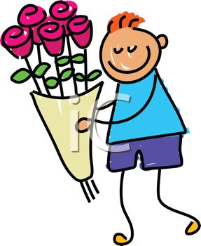 picture of a stick figure boy with a bouquet of flowers in a vector clip art illustration