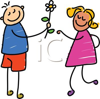 picture of a stick figure boy giving a flower to a stick figure girl in a vector clip art illustration