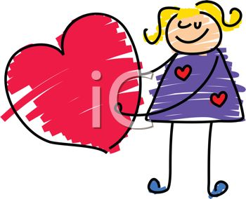 picture of a stick figure girl holding a heart in a vector clip art illustration
