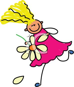 picture of a stick figure girl running with a flower in a vector clip art illustration